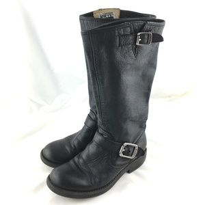 Tall boots knee high black leather Veronica Slouch